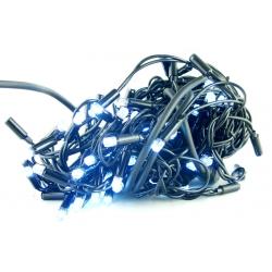 Гирлянда 100 ламп (8мм) светод. улич. белые (белый шнур) 8 реж. дорог.