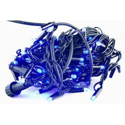 Гирлянда 100 ламп (8мм) светод. улич. голуб. (белый шнур) 8 реж. дорог.