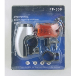 Фонарь для велосипеда FF-309 (5 ярк. перед.+ задн.)