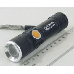 Фонарь светодиодный (1 мощ. акк.) 100W FA-515 USB zoom