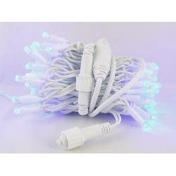 Гирлянда 100 ламп (8мм) светод. улич. голуб. (белый шнур) 8 реж.