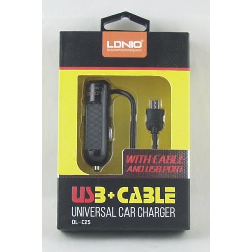 Зарядное устройство для SAMSUNG авто 5V 2,1A LDNIO AC-25-V8 + USB