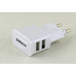 Блок питания для MP3 (2 USB разъем, без шн.) 5V 2+1A сетев. U-90-2 SAMSUNG