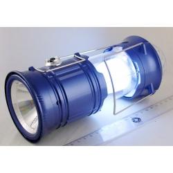 Фонарь аккумуляторный (1 ярк.+ 1 больш.+ диско-шар. шнур 220V) SH-5801 раздвижн.