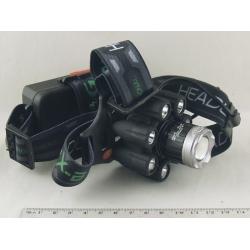 Фонарь головной (7+1 ярк.+ 2акк.+ шнур micro USB) H-569-T6 zoom в короб.