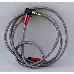 Шнур AUX (Джек 3,5 - Джек 3,5) 1м метал. угловой M-08A