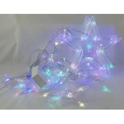 Гирлянда - штора (бахрома) светодиод. звездочки цветные 3м*1м 8реж. V-137C