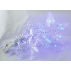 Гирлянда - штора (бахрома) светодиод. звездочки голубые 3м*1м 8реж. V-137B