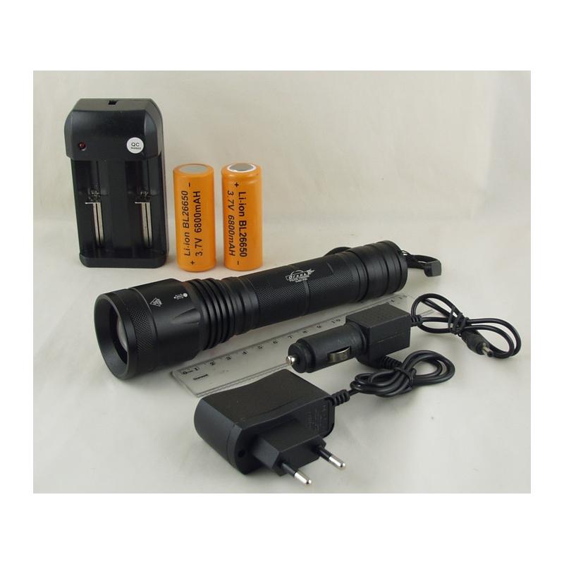 Фонарь светодиодный (1 мощ., 2 акк.26650 + ЗУ) H-657-P50 zoom