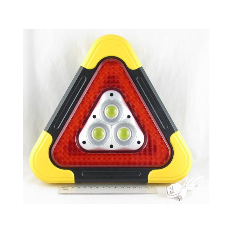 Фонарь (Знак аварийной остановки) 1 больш.+ красн. аккум. №7709A USB солнечн.
