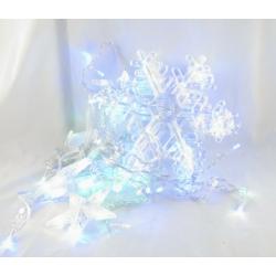 Гирлянда - штора (бахрома) светодиод. снежинки цветные 3м*1м 8реж. V-138C