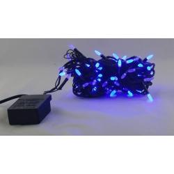 Гирлянда 100 светод. (3 мм свечки) голуб. черн. шнур