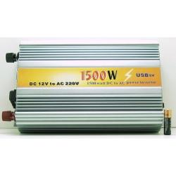 Преобразователь напряж. 12V-220V 1500W USB 2роз. больш.