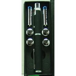 Лазерная указка зелен. 1000-5000W 4 насад. (2AA)