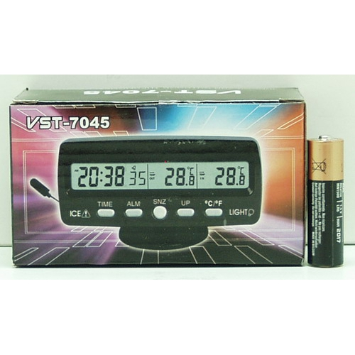 Часы автомобильные №7045 VST с улич. датчик темп.