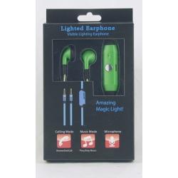 Наушники  с микроф. светящ. LED зеленые