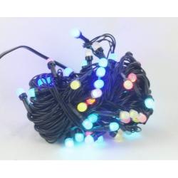 Гирлянда 100 ламп (8мм) светод. разноцв. (черный шнур) 8 реж. CY-100