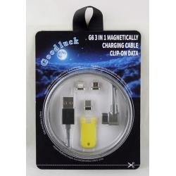 Шнур для IPHONE4/5, IPAD, SAMSUNG 3в1 G6-3 магнитный угловой