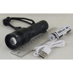 Фонарь светодиодный (1 мощ., акк.+ шнур microUSB) FA-L3-P50 zoom