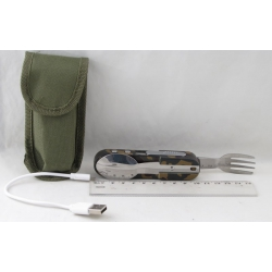 Туристический набор H-731 (фонарь, прикуриватель,вилка, ложка) шнур micro USB