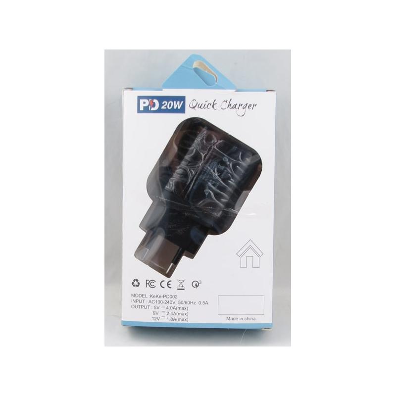 Сетевое зарядное устройство PD-002 5V 4A/9V 2,4A/12V 1,8A 20W черный TYPE-C+USB быстрая зарядка