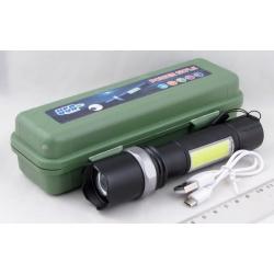 Фонарь светодиодный №9626 (1 мощ., акк.+ЗУ) 5000-6000W zoom, пласт. короб.