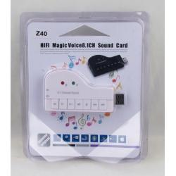 Внешняя звуковая карта Z-40 USB 8.1 с переключателем