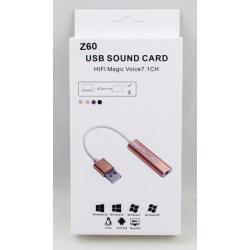 Внешняя звуковая карта Z-60 USB - Jack 3,5 (наушники)