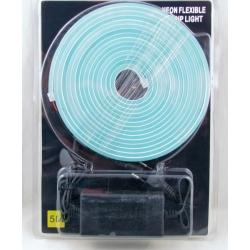 Светодиодная неоновая лента голубая (с блоком питания) 5м блистер