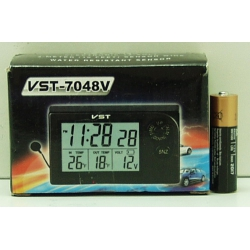 Часы автомобильные №7048V VST с улич. датчик темп.